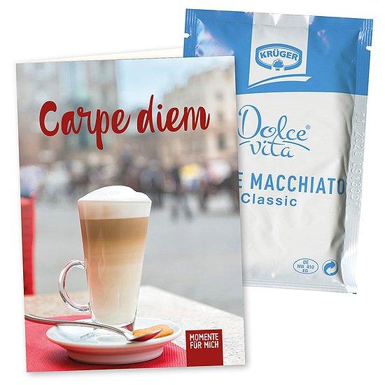 Karte Carpe Diem (mit Latte-Macchiato-Pulver)- Doppelkarte für die Kaffeepause mit Impuls nach Psalm 90,12
