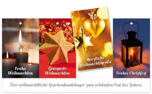 Weihnachtliche Geschenkanhänger 4er Set - Anhänger Karte Frohe Weihnachten / Gesegneten Weihachten / Herzliche Weihachtsgrüße / Frohes Christfest