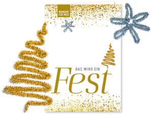 """Weihnacht Doppelkarte """"Das wird ein Fest"""" (mit Pfeifenputzer) mit glitzernder Adventsdeko zum Basteln"""