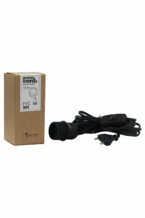 E27-Fassung Kabel schwarz mit Schalter, 4m - Zubehör für Papier Stern - Leuchtstern - Deckenlampen