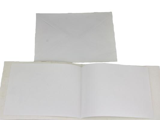Karte Zur Geburt Faltkarte Handgschöpftes Papier Karte aufgeschlagen und Umschlag