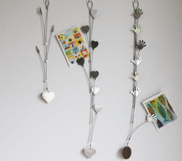 hängende Kartenhalter Clip mit Herz oder Hand - für 3/7 Postkarten Herzn oder Händemotiv