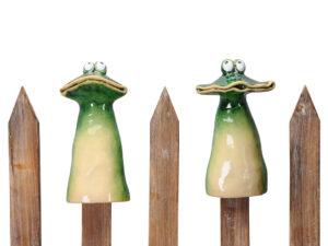 Keramik Zaunhocker Frosch Zaunfigur Breitmaulfrosch Figur
