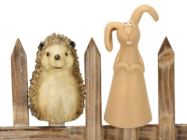 Keramik Zaunhocker Hase und Igel Zaunfigur
