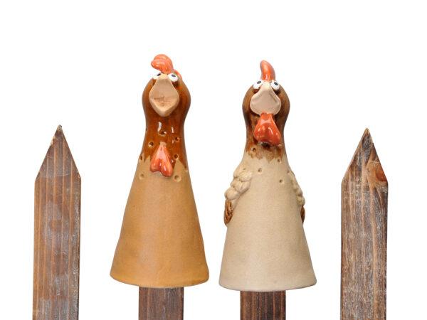 Keramik Zaunhocker Huhn Zaunfigur Hahn Henne Gockel