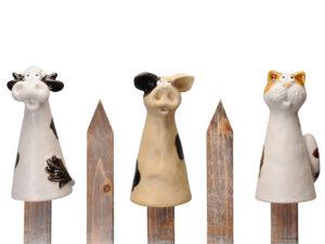 Keramik Zaunhocker Tiere - Kuh, Schwein, Katze Zaunfigur