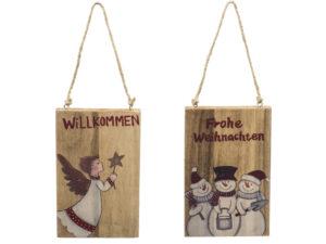 Kleines Türschild Willkommen Engel - Frohe Weihnachten Schild aus Holz