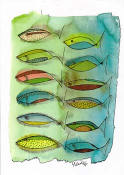 Kunst Postkarte Fishing for Compliments, Aquarell-Tusche, 1997, Fischschwarm Postkarte FishingforCompliments