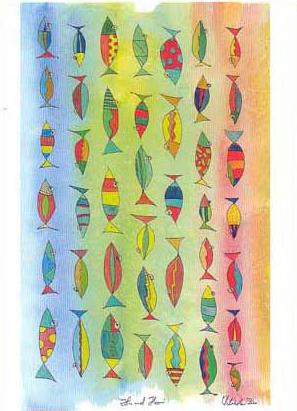 Kunst Postkarte Hin und Her Aquarell, Tusche, 200 , Fische Karte pk-12-hin-und-her