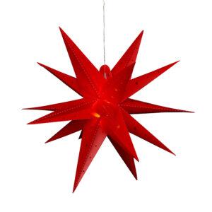 Kunststoff Stern rot - Falkensteiner Adventsstern wetterfest inkl. LED Beleuchtung - 60 x 60 x 60 cm, 18 Spitzen