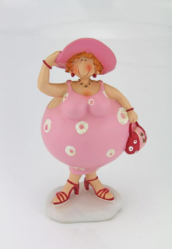 Kurvige kleine Dame im rosa Glitzer Kleid Figuren