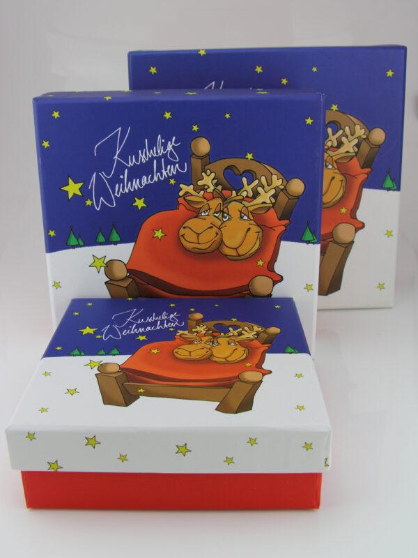 Kuschelige Weihnachten Geschenkbox - Set + verschiedene Größen (13 - 17 cm, 3er Set)