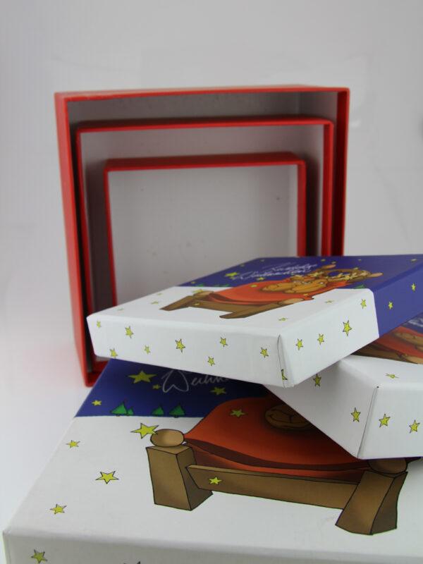 Kuschelige Weihnachten Geschenkbox - Set + verschiedene Größen (13 - 17 cm