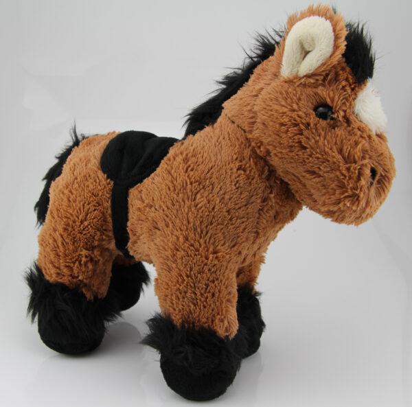 Kuscheltier Pferd braun schwarz - weiches Plüschpferd mit Sattel Pferdefans