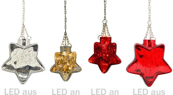 Leuchtstern aus Glas mit LED