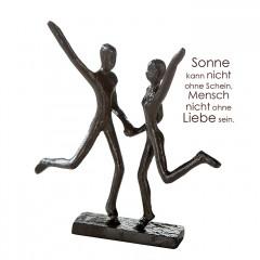 Liebespaar Freudensprung - Mini Design Skulptur aus Eisen, brüniert74734