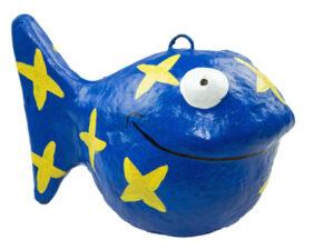 Looky Dekofigur Fisch aus Pappmaché handbemalt mit Sternen