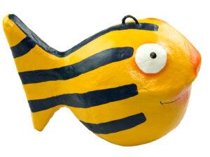 Looky Kugelfisch Dekofigur Fisch Pappmaché handbemalt