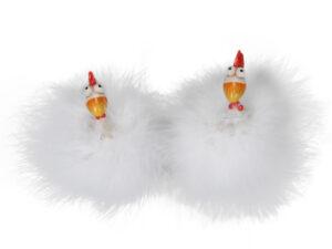 Lustige Figur Huhn mit Federn - Flauschige Hühner