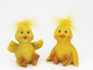 Lustige Küken Figuren mit Federn - 2er Set