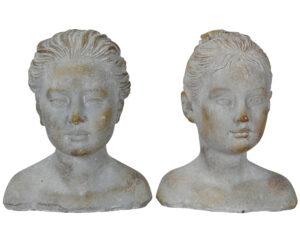 Mädchen Büste aus Stein - Biedermeier Büste Mädchen