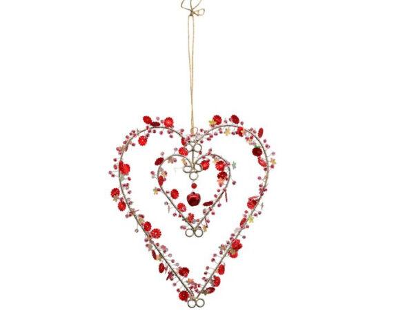 Metall Blumen Herz zum Aufhängen 235040