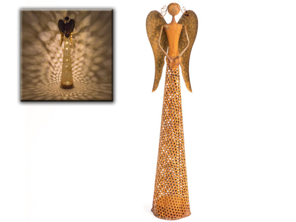 Metall Engel Skulptur Edelrost, 54cm – mit LED Beleuchtung – Dekofigur Metallengel – Schutzengel Herstellerfoto