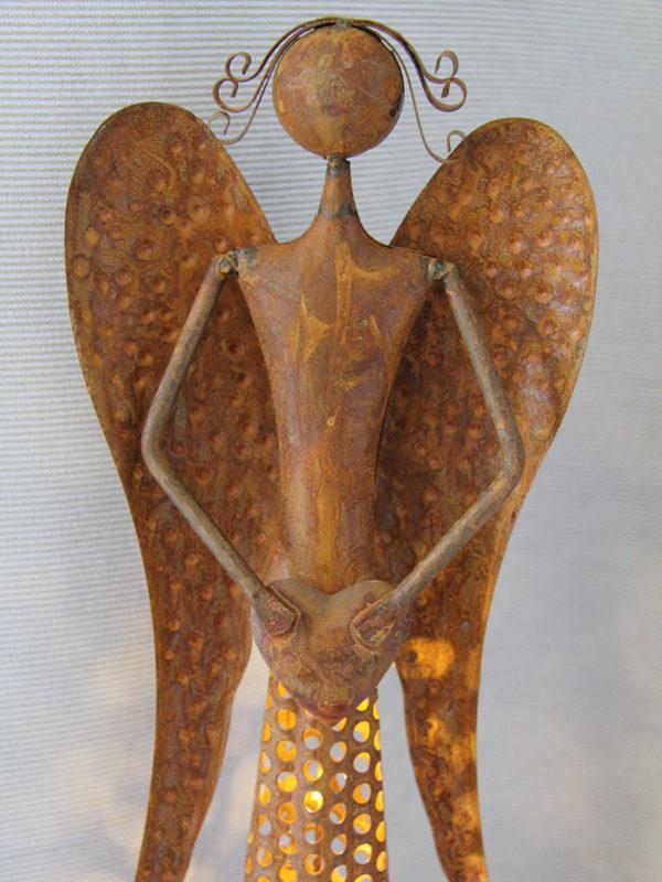 Metall Engel Skulptur Edelrost, 54cm - mit LED Beleuchtung - Dekofigur Metallengel - Schutzengel zoom gesicht