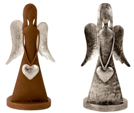 Metall Engel für Teelicht - Schutzengel silber oder Edelrost