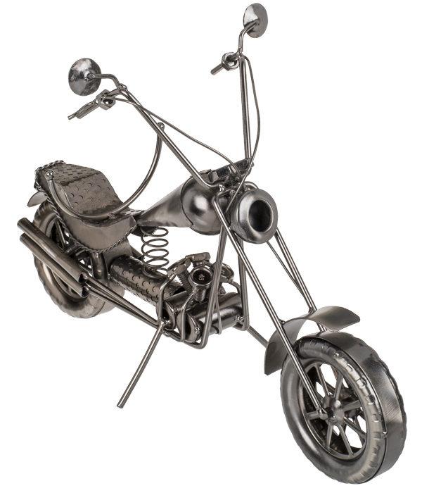 Metall Flaschenhalter Motorrad Chopper Skulptur - Flaschenständer Bike.