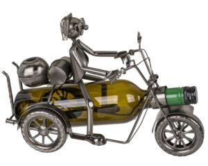 Metall Flaschenhalter Motorradfahrer Skulptur - Flaschenständer Biker mit Gepäck