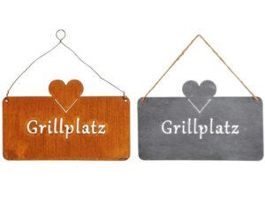 Metall Grillplatz Schild - rost oder eisen - Gartenschild Grillecke