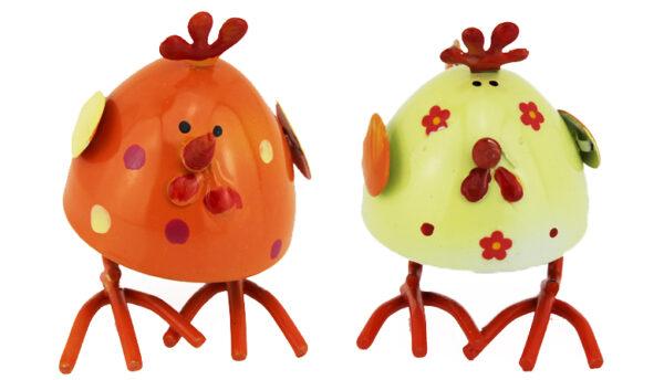 Metall Huhn Wackelhühner - stehende Wackelfiguren bunte Hennen