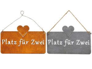 Metall Platz für Zwei Schild - rost oder eisen - Pärchen Schild Gartenbank