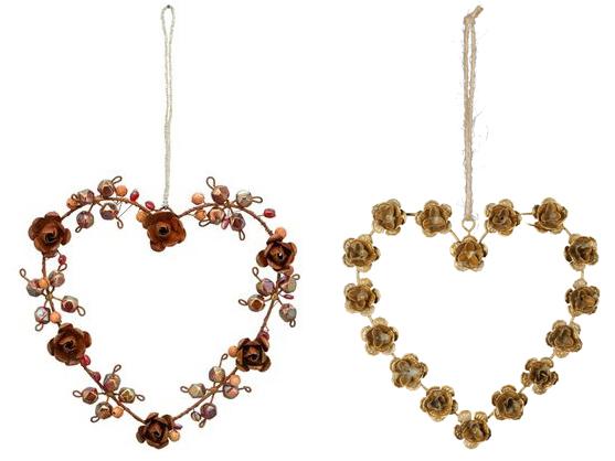 Metall Rosen Herz zum Aufhängen - Fensterdekoherz 234674 512274-014-262