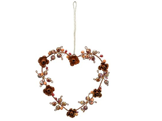 rotes Metall Rosen Herz zum Aufhängen - Fensterdekoherz 234674