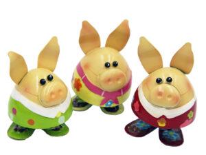 Metall Schwein Wackelschweine - 3er Set - stehende Wackelfiguren bunte Schweine