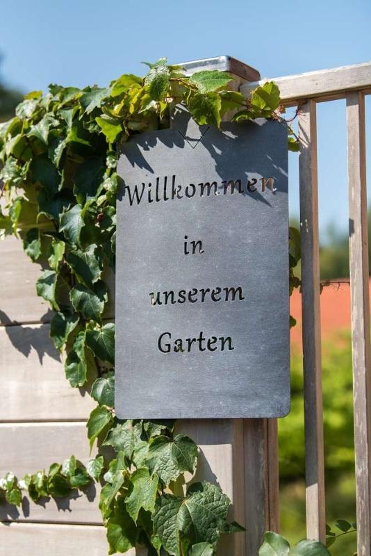 Metall Willkommen in unserem Garten Schild - eisen - Willkommen Gartenschild