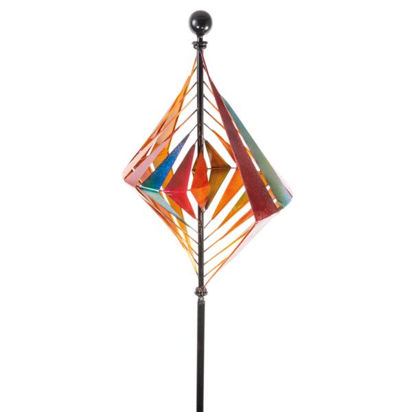 Metallwindrad Karo Kinetic Spinner 60 cm – Premium Windrad XL.