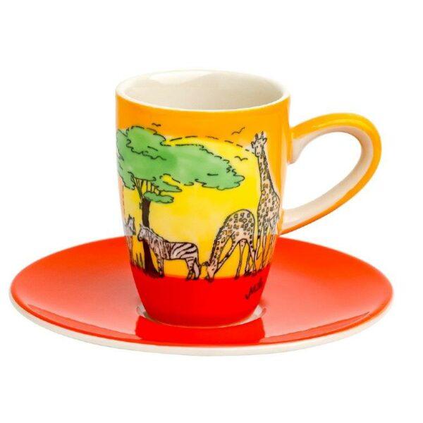 Mila Afrika Espresso Set Safari -Tasse mit Untertasse - Keramik 88211