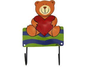 Mila Bär mit Herz, sitzend – 2er Haken – Garderobe – Wandhaken