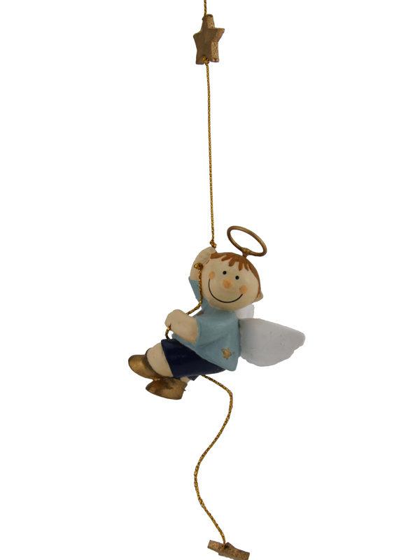Mila Bengel am Seil - Schutzengel Junge zum Aufhängen blau