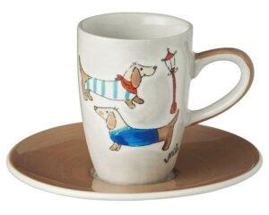 Mila Dackel Espresso-Set - Tasse mit Untertasse - Keramik 88201