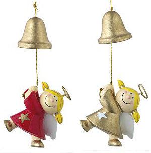 Mila Deko Hängefigur Engel – Sterntaler an der Glocke hängend – rot oder gold
