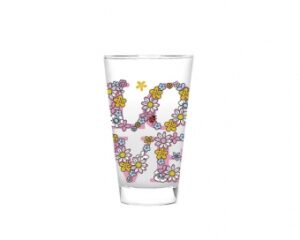 Mila Love Glas, groß - Trinkglas 250 ml Love, Peace and Smile!