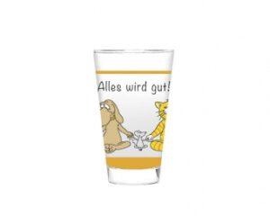 Mila Alles wird gut Glas, groß - Trinkglas 250 ml - Yoga Katze, Maus und Hund