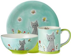 Mila Katze in Blumenwiese Sammler Set – Becher + Teller + Schale