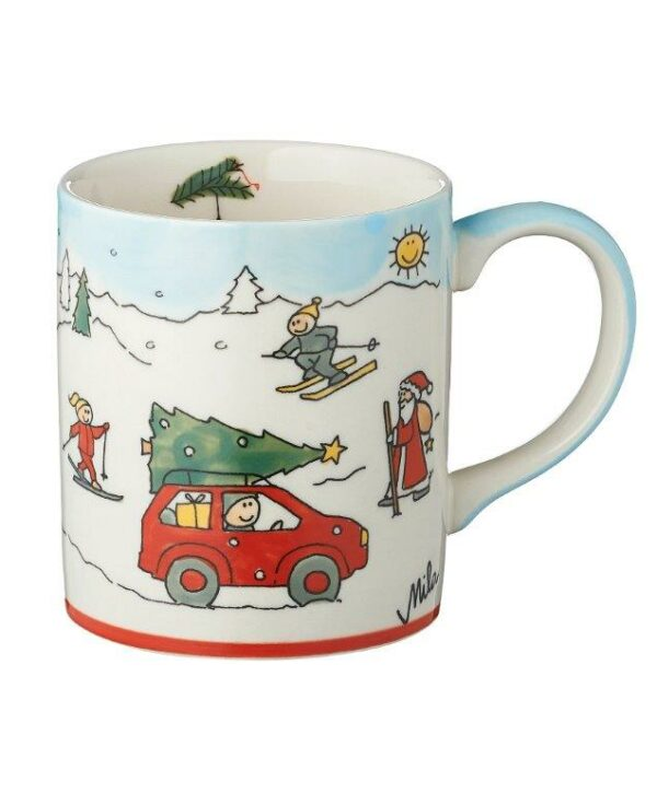 Mila Driving Home for Cristmas Becher - 280 ml - Keramik - Weihnachtsbecher 80189