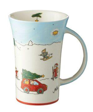 Mila Driving Home for Cristmas Coffee Pot - 500 ml - Keramik - XXL Weihnachtsbecher 82189