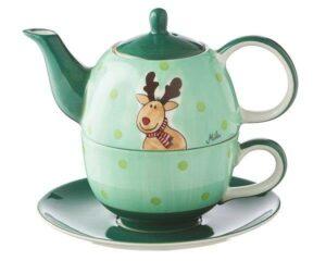Mila Elch Gustav Tea for one - Teekanne 0,4 L mit Tasse und Untertasse + Geschenkverpackung - Keramik 99171
